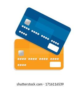 Flat design credit cards set isolated on white background. Orange and blue.