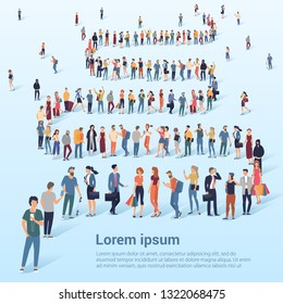Flat design croud of people waiting in queune vector presentation and web promotional banner template.