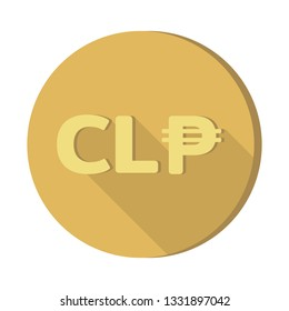 Flat design Currency money symbols icon : Chile's Chilean peso CLP Gold coin vector illustration with shadow