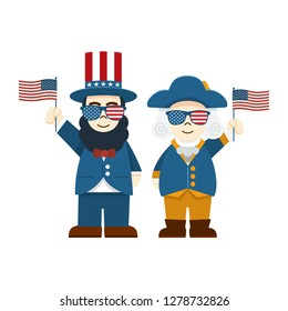 Flat design, Cute Cartoon Abraham Lincoln and George Washington wearing glasses with USA Flag, President's Day