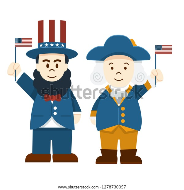 Flat design, Cute Cartoon Abraham Lincoln and George Washington, President's Day