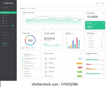 Flat design dashboard, admin template