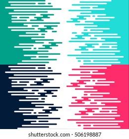 Flat design dashed lines green blue cyan pink art artistic 4 colors