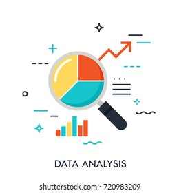 Flat design of data analysis magnifier with pie chart and arrow. Premium quality symbol. Modern style logo vector illustration concept.