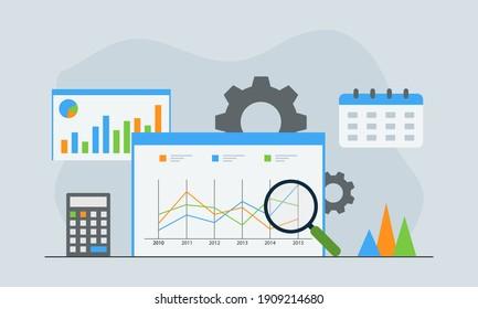 Flat design Data Analysis. Modern vector illustration concepts for background, banner, mobile app and website.