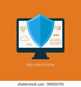 Flat design data security. Shield on computer protect sensitive data. Internet security. Vector Illustration.