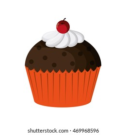 flat design decorated cupcake with cherry icon vector illustration