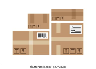 Flat design delivery boxes set, collection isolated on white background.