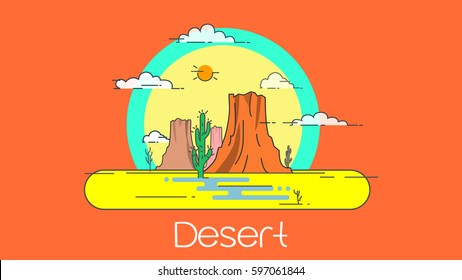 Flat design desert with outlines