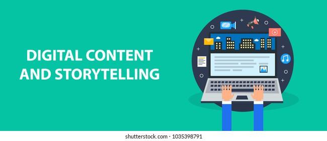Flat design digital content, visual storytelling, infographic, data visualization, vector banner