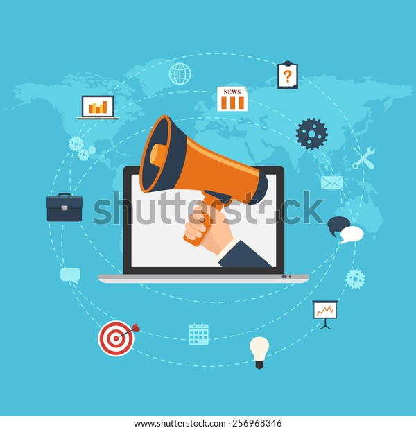 Flat design digital marketing concept. Hand holding megaphone coming out from laptop