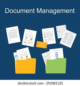 flat design of documents management.