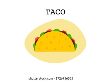 Flat design drawn outline taco icon tortillas Mexican food, Mexican spicy hot food cuisine yummy beef tacos, vector single Taco isolated in white background, text taco, Mexican food traditional