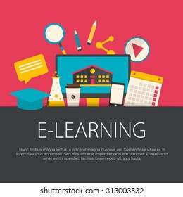 Flat design e-learning concept. E-learning equipment background. Vector illustration.