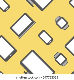 Flat design electronic devices seamless pattern background.
