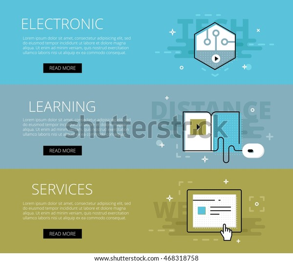Flat Design Electronic Education Banners Template Stock Vector Royalty Free 468318758