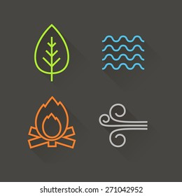 Flat design element icons, with long shadow