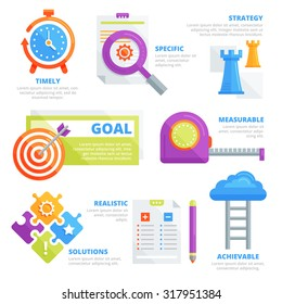 Flat design elements of goal setting, strategy, solution, challenge, performance, productivity, potential, goal development concept. Infographic vector template.