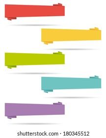 Flat design elements. Origami banners. Set I. Vector collection.