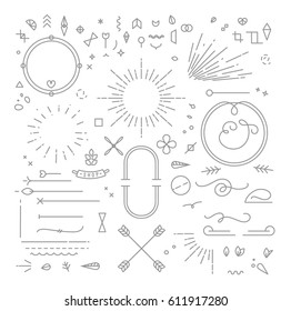 Flat design elements in vintage style drawing with gray lines on white background
