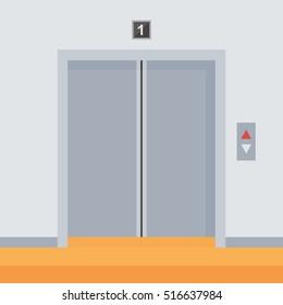 Flat design elevator doors icon, vector illustration.