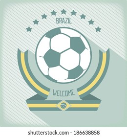 Flat design emblem for football in Brazil. Ribbons around the ball. Vector eps 10