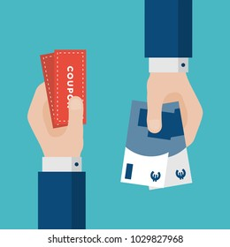 Flat Design of Exchange Coupon and Euros. Hand Holding Banknotes and Getting Coupons. E-commerce Business Idea concept. Isolated Vector illustration