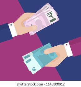 Flat Design of Exchange Euros and Indian Rupees. One Hand Holding Indian Money  and Another One Holding Euros. Business idea concept. Isolated Vector illustration