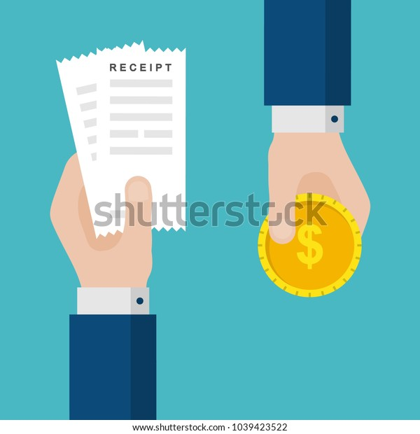 Flat Design of Exchange Receipt and Gold Coin. Hand Holding Receipt and hand Paying with a Gold Coin. Paying Taxes Idea Concept. Isolated Vector illustration