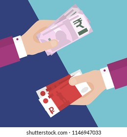 Flat Design of Exchange Rubles and Rupees. One Hand Holding Russian Rubles and Another One Holding Indian Rupees. Business idea concept. Isolated Vector illustration