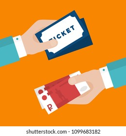 Flat Design of Exchange Tickets and  Rubles. Hand Holding Money and Buying Tickets. Business Idea concept. Isolated Vector illustration