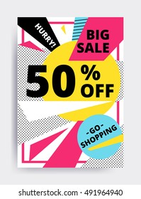 Flat design eye catching sale website banner template. Bright colorful vector illustrations for social media, posters, email, print, mobile phoned designs, ads, promotional material. Yellow Pink Blue