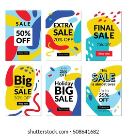 Flat design eye catching sale website banners for mobile phone. Vector illustrations for social media banners, posters, email and newsletter designs, ads, promotional material.