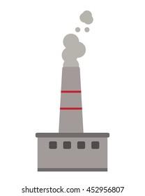 flat design factory chimney icon vector illustration
