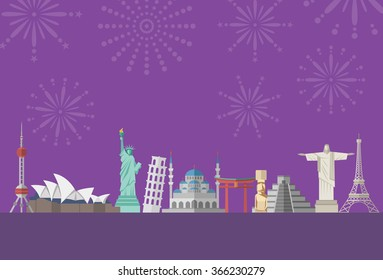 Flat design, famous landmarks with firworks