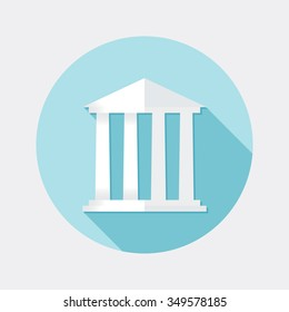 Flat design financial building icon with long shadow