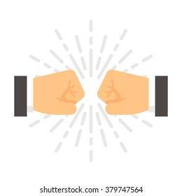 Flat design fist bump illustration vector