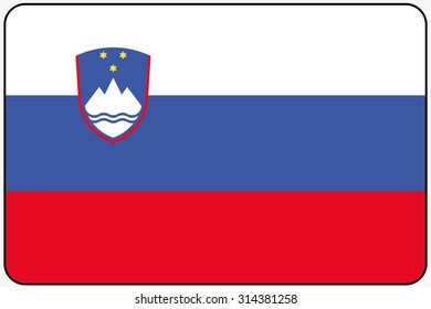 A Flat Design Flag Illustration with Rounded Corners and Black Outline of the country of Slovenia