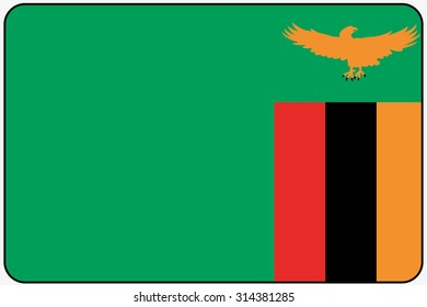 A Flat Design Flag Illustration with Rounded Corners and Black Outline of the country of Zambia