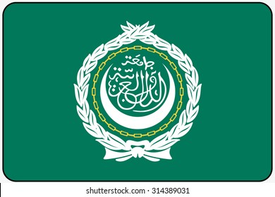 A Flat Design Flag Illustration with Rounded Corners and Black Outline of the country of Arab League