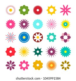 Flat Design Flowers Icons. Vector Simple Flowers Set.