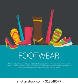 Flat design footwear concept. footwear background. Vector illustration.
