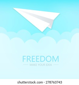 Flat Design, Freedom for idea, Folding paper shape, Plane with cyan sky background.