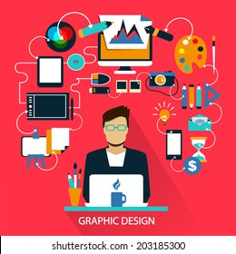 Flat design . Freelance career. Graphic design.