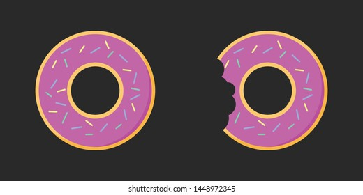 Flat design of full donut and bitten donut.