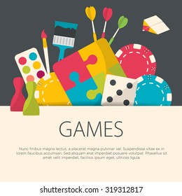 Flat design games concept. Games equipment background. Vector illustration.