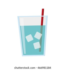 flat design glass of water with ice and straw icon vector illustration