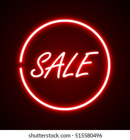 Flat design glowing round sign with word sale in middle on dark background vector illustration