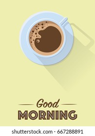 Flat design good morning retro coffee poster