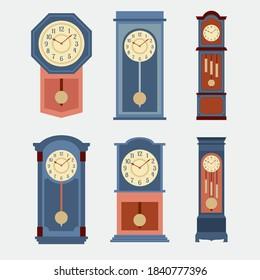 Flat Design Grandfather Pendulum Clock Icon Set Vector Illustration.